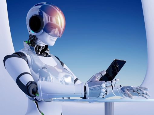 48986326 - the  robot with tablet in hand.